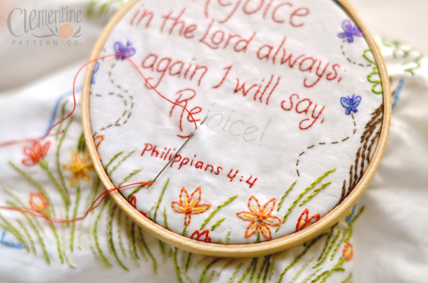 Rejoice in the Lord Embroidery Kit by Clementine Patterns