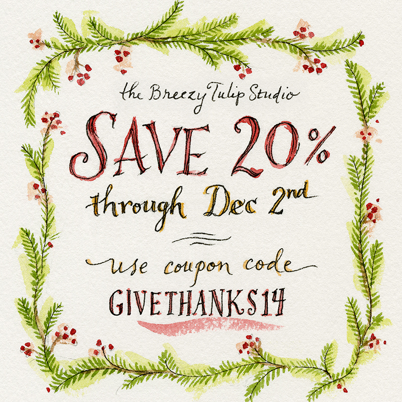SALE: Save 20% at The Breezy Tulip Studio