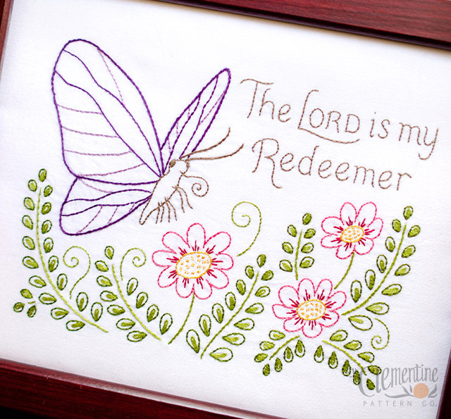 The Lord is My Redeemer Embroidery Pattern